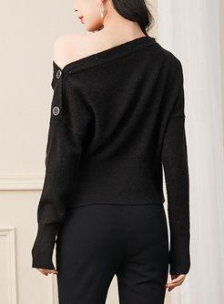 Slash Collar Button Loose Sweater