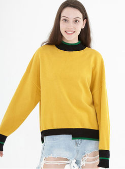 Crew Neck Pullover Asymmetric Loose Sweater