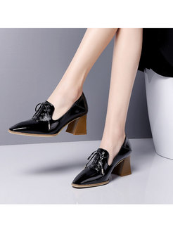Pointed Head Chunky Heel Leather Shoes