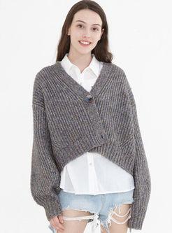 V-neck Long Sleeve Cropped Cardigan