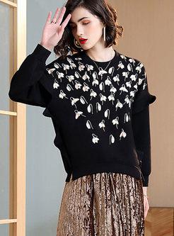 Black Crew Neck Pullover Embroidered Sweatshirt