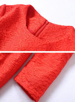 Red Long Sleeve A Line Mini Dress