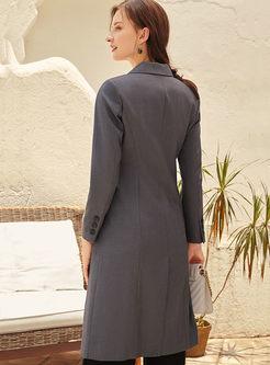 Notched Long Sleeve A Line Blazer