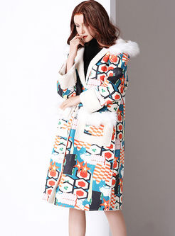 Hooded Print Long Suede Coat With Pockets