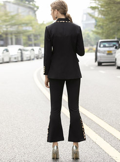 Notched Leopard Patchwork Flare Pant Suits
