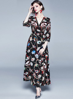 V-neck High Waisted Print Maxi Dress