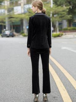 Notched Patchwork Slim Pant Suits