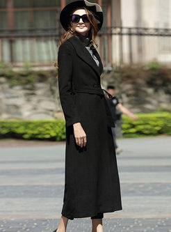 Pure Color Notched Belted Hem Long Peacoat