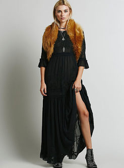 Solid Color Embroidered Maxi Beach Dress