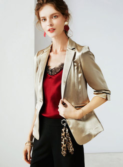 Casual Lapel Satin Slim Short Blazer