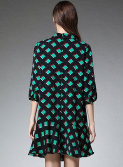 Print Color-blocked Falbala Shift Dress