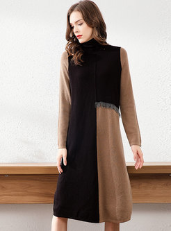 Turtleneck Patchwork Color-blocked Fringed Sweater Dress
