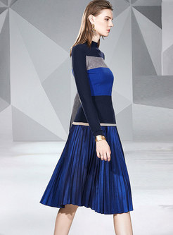Color-blocked Patchwork Slim Sweater Pleated Suit Dress
