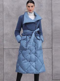 Lapel Fleece Patchwork Diamond Long Down Coat