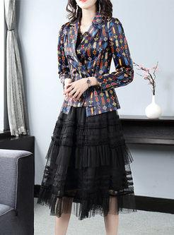 Notched Print Mesh A Line Suit Dress