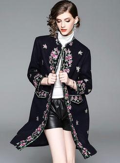 Mock Neck Embroidered Wool Blend Coat