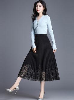 High Waisted A Line Pleated Skirt