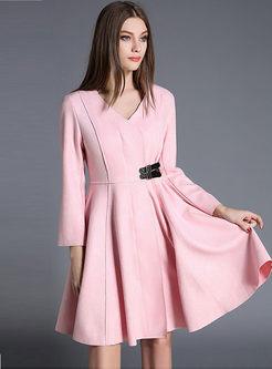 V-neck Long Sleeve A Line Coat Dress