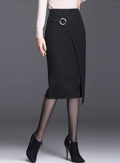 High Waisted Asymmetric Bodycon Skirt