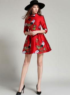 Red Mandarin Collar Mini Print Skater Dress