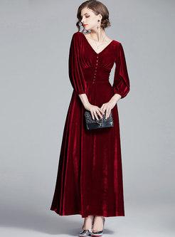 V-neck Solid Color Velvet Maxi Dress
