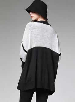 Bat Sleeve Color-blocked Patchwork Loose Cardigan