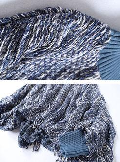 Turtleneck Bat Sleeve Fringed Pant Suits