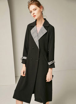 Black Long Sleeve Plaid A Line Trench Coat