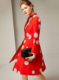 Notched Polka Dot A Line Trench Coat