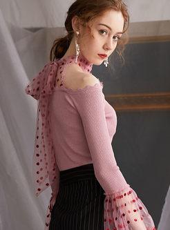 Polka Dot Mesh Halter Cold Shoulder Sweater