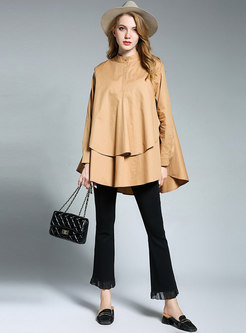 Mock Neck Falbala Asymmetry Zip-up Blouse
