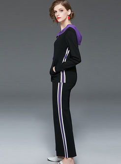 Color-blocked Hooded Striped Sweater Pant Suits