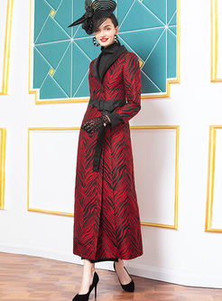 Lapel Print Long Trench Coat With Belt