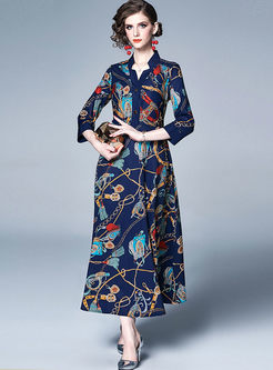 V-neck Long Sleeve Print Maxi Dress