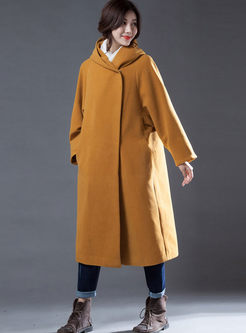 Solid Color Hooded Straight Long Coat