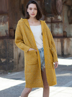 Hooded Straight Sweater Coat With Pockets
