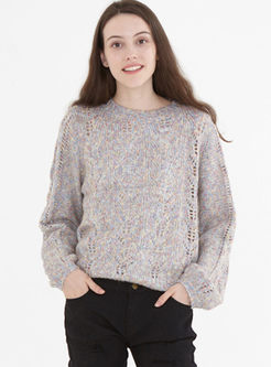 Solid Color Openwork Pullover Sweater