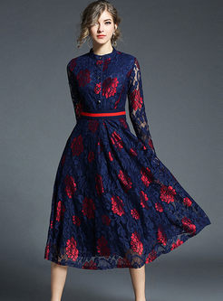 Mock Neck Print Lace A Line Dress