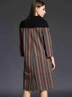 Color-blocked Mock Neck Patchwork Shift Dress