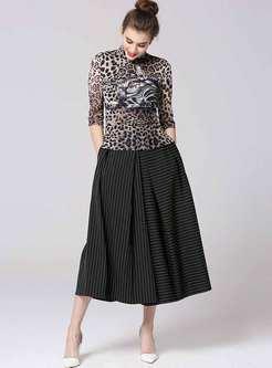 Mandarin Collar Leopard Striped Palazzo Pant Suits