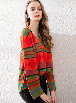 V-neck Long Sleeve Pullover Print Sweater