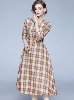 Mock Neck Long Sleeve Plaid Skater Dress