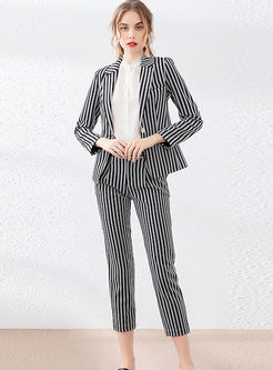 Notched Striped Slim Office Pant Suits