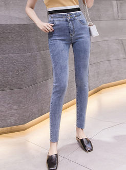 Blue High Waisted Long Pencil Jeans