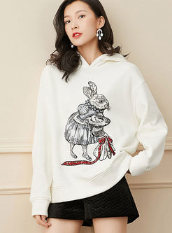 Sequin Embroidered Loose Pullover Hoodie