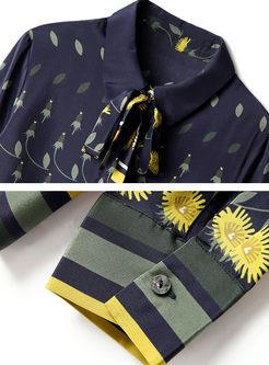 Lapel Bowknot Print Silk Blouse