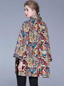 V-neck Print Long Sleeve Loose Coat