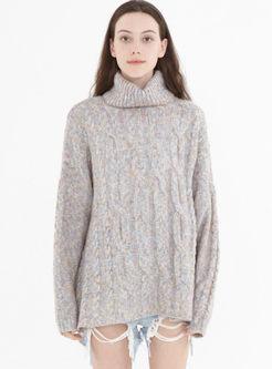 Turtleneck Pullover Loose Wool Sweater