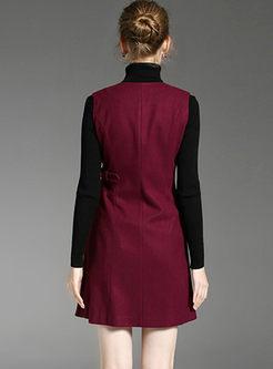V-neck Sleeveless A Line Vest Dress