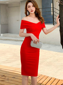 Off The Shoulder Knee-length Bodycon Dress